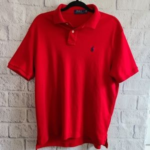 Red Ralph Lauren Polo Blue Logo Shirt SZ Large